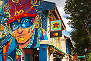 Mural and shops on Arab Street, Singapore, Republic of Singapore