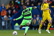 Forest Green Rovers Reece Brown(10) passes the ball forward during the The FA Cup 1st round match between Oxford United and Forest Green Rovers at the Kassam Stadium, Oxford, England on 10 November 2018.