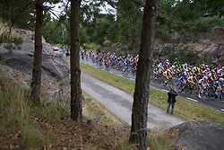 The peloton rolls together in the first few kilometers of the Crescent Vargarda - a 152 km road race, starting and finishing in Vargarda on August 13, 2017, in Vastra Gotaland, Sweden. (Photo by Balint Hamvas/Velofocus.com)