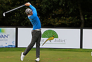 Nicolo Ravano (ITA) on the 9th tee during Round 1 of the Volopa Irish Challenge in Tullow, Co. Carlow on Thursday 8th October 2015.<br /> Picture:  Thos Caffrey / www.golffile.ie
