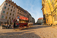 Horse drawn carriage, Neumarkt, Dresden, Saxony, Germany