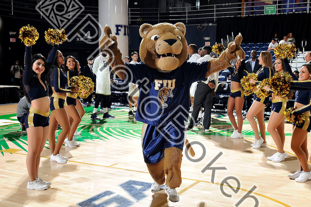 2016 January 28 - FIU's mascot Roary. Florida International University fell to Charlotte, 69-72, at FIU Arena, Miami, Florida. (Photo by: Alex J. Hernandez / photobokeh.com) This image is copyright by PhotoBokeh.com and may not be reproduced or retransmitted without express written consent of PhotoBokeh.com. ©2016 PhotoBokeh.com - All Rights Reserved