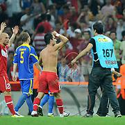 Turkey's Arda TURAN (C) celebrates after scoring against Kazakhstan during their Euro 2012 Group A qualifying soccer match at Turk Telekom Arena in Istanbul September 2, 2011. Photo by TURKPIX