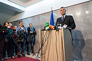 March 14, 2013 - After a meeting of EU foreign policy chief Catherine Ashton, with Kosovo's PM and President Atifete Jahjaga, Kosovo Prime Minister Hashim Thaci (in picture) held a press conference in Pristina, on March 14, 2013. Ashton made a brief visit to Pristina for progress in EU-mediated talks aimed at normalizing ties between Kosovo and Serbia. (Credit Image: © Vedat Xhymshiti/ZUMAPRESS.com)
