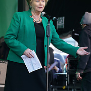 Speaker at the St Patrick's Day festival and Parade in London set to go green for another world-class 2016 on 13th March 2016 in Trafalgar Square, London, England,UK. Photo by © 2016