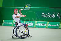 20160910 Copyright onEdition 2016©<br /> Free for editorial use image, please credit: onEdition<br /> <br /> Wheelchair Tennis Player, Andy Lapthorne, from Hammersmith, London, competing for ParalympicsGB at the Rio Paralympic Games 2016.<br />  <br /> ParalympicsGB is the name for the Great Britain and Northern Ireland Paralympic Team that competes at the summer and winter Paralympic Games. The Team is selected and managed by the British Paralympic Association, in conjunction with the national governing bodies, and is made up of the best sportsmen and women who compete in the 22 summer and 4 winter sports on the Paralympic Programme.<br /> <br /> For additional Images please visit: http://www.w-w-i.com/paralympicsgb_2016/<br /> <br /> For more information please contact the press office via press@paralympics.org.uk or on +44 (0) 7717 587 055<br /> <br /> If you require a higher resolution image or you have any other onEdition photographic enquiries, please contact onEdition on 0845 900 2 900 or email info@onEdition.com<br /> This image is copyright onEdition 2016©.<br /> <br /> This image has been supplied by onEdition and must be credited onEdition. The author is asserting his full Moral rights in relation to the publication of this image. Rights for onward transmission of any image or file is not granted or implied. Changing or deleting Copyright information is illegal as specified in the Copyright, Design and Patents Act 1988. If you are in any way unsure of your right to publish this image please contact onEdition on 0845 900 2 900 or email info@onEdition.com