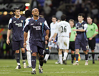 Photo: Paul Thomas.<br />Bolton Wanderers v Manchester City. The Barclays Premiership. 21/01/2006.<br />Trevor Sinclair and his Man City team mates leave the field dejected.