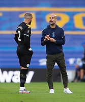 Manchester City manager Pep Guardiola (right) giving instructions to Manchester City's Kyle Walker (left) <br /> <br /> Photographer David Horton/CameraSport<br /> <br /> The Premier League - Brighton & Hove Albion v Manchester City - Saturday 11th July 2020 - The Amex Stadium - Brighton<br /> <br /> World Copyright © 2020 CameraSport. All rights reserved. 43 Linden Ave. Countesthorpe. Leicester. England. LE8 5PG - Tel: +44 (0) 116 277 4147 - admin@camerasport.com - www.camerasport.com