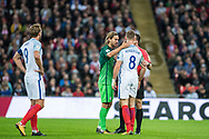 England (8) Jordan Henderson, Slovenia (6)Rene Krhin during the FIFA World Cup Qualifier match between England and Slovenia at Wembley Stadium, London, England on 5 October 2017. Photo by Sebastian Frej.