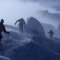SKIING, Montana, Skiers on The Ridge during storm, Bridger Bowl, Montan.