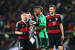 05.03.2014, Mercedes Benz Arena, Stuttgart, GER, Testspiel, Deutschland vs Chile, im Bild Bastian Schweinsteiger (Deutschland), Jerome Boateng (Deutschland), Manuel Neuer (Deutschland), Per Mertesacker (Deutschland) feiern den Sieg, Jubel, Freude, Emotionen // during the International Friendly match between Germany and Chile at the Mercedes Benz Arena in Stuttgart, Germany on 2014/03/05. EXPA Pictures © 2014, PhotoCredit: EXPA/ Eibner-Pressefoto/ Neis<br /> <br /> *****ATTENTION - OUT of GER*****