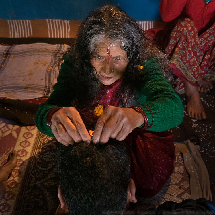 Shot on the occasion of a Jagar. Jagar is a ritual in which Gods and local deities are waked, through intense rythmic music, from their dormant stage and asked for favors or remedies for certain problems plaguing the person. An expression of old folk Hinduism, close to Shamanism.