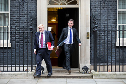 © Licensed to London News Pictures. 29/01/2018. London, UK. Foreign and Commonwealth Secretary Boris Johnson and Attorney General Jeremy Wright QC leaving Downing Street after attending a Brexit meeting this morning. Photo credit : Tom Nicholson/LNP
