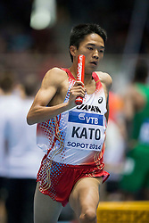 08.03.2014, Ergo Arena, Sopot, POL, IAAF, Leichtathletik Indoor WM, Sopot 2014, im Bild NOBUYA KATO 4X400 m // NOBUYA KATO 4X400 m during day two of IAAF World Indoor Championships Sopot 2014 at the Ergo Arena in Sopot, Poland on 2014/03/08. EXPA Pictures © 2014, PhotoCredit: EXPA/ Newspix/ Radoslaw Jozwiak<br /> <br /> *****ATTENTION - for AUT, SLO, CRO, SRB, BIH, MAZ, TUR, SUI, SWE only*****