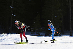 BOE Johannes Thingnes of Norway and HOFER Lukas of Italy compete during the IBU World Championships Biathlon 15 km Mass start Men competition on February 21, 2021 in Pokljuka, Slovenia. Photo by Vid Ponikvar / Sportida