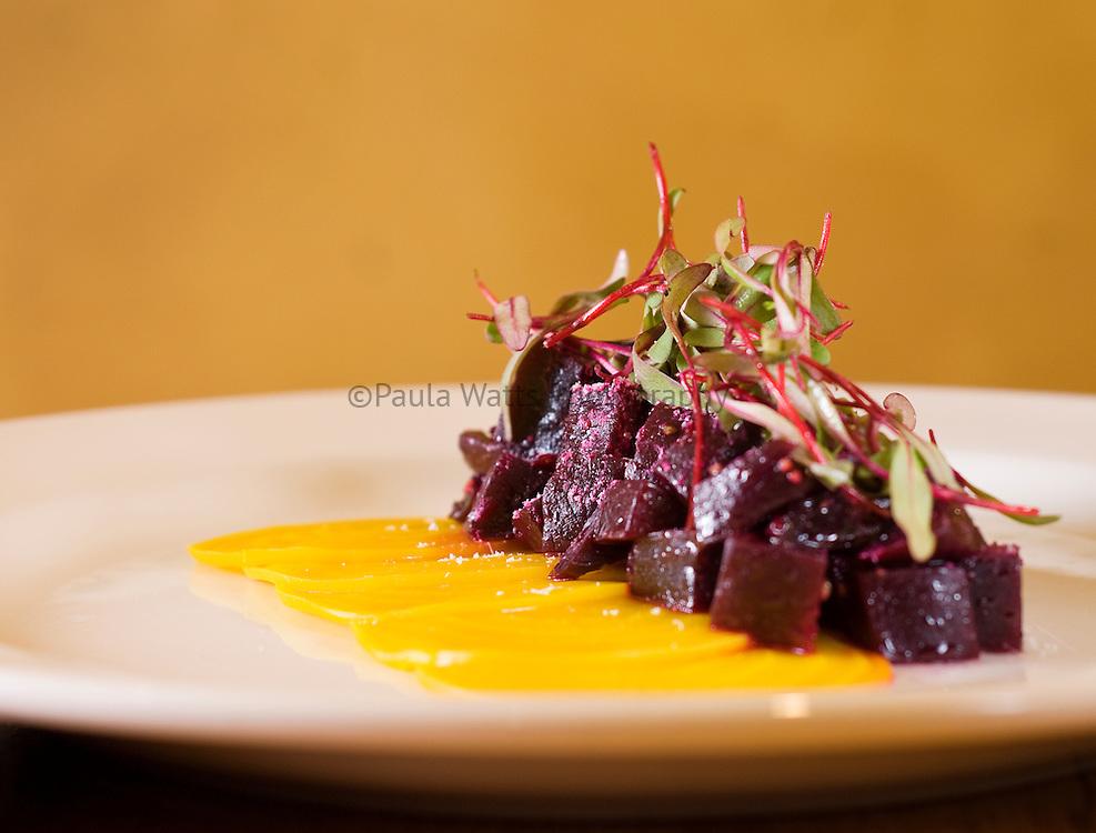 Beet root salad in restaurant plating