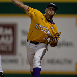 05 June 2009:  LSU pitcher Paul Bertuccini (44) warms up in the bullpen during game one of the NCAA baseball College World Series, Super Regional game between the Rice Owls and the LSU Tigers at Alex Box Stadium in Baton Rouge, Louisiana.