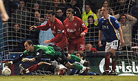Photo: Daniel Hambury.<br />Portsmouth v Liverpool. The FA Cup. 29/01/2006.<br />Liverpool's keeper Jose Reina trys to grab the ball in a goal mouth scramble near the end of the game.