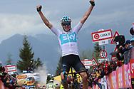 Arrival Christopher Froome (GBR - Team Sky) winner celebration during the 101th Tour of Italy, Giro d'Italia 2018, stage 14, San Vito Al Tagliamento - Monte Zoncolan 181 km on May 19, 2018 in Italy - Photo Ilario Biondi / BettiniPhoto / ProSportsImages / DPPI