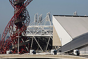 Landscape of 2012 Olympic construction site showing Aquatics centre, The Orbit art tower and the main stadium at Stratford.