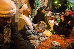 April 25, 2017 - Cairo, Egypt - Egyptian Sufi Muslims celebrate the birth anniversary of Al Sayeda Zainab, grand daughter of Prophet Muhammad, outside the Al Sayeda Zainab Mosque in Cairo, Egypt on April 25, 2017. According to the Sufis the mosque contains the grave of Al Sayeda Zainab. (Credit Image: © Ibrahim Ezzat/NurPhoto via ZUMA Press)