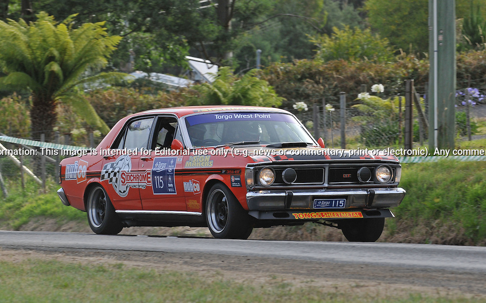 115 Drew Kent & Paul Krawczyk.1971 Ford Falcon GT.Day 1.Targa Wrest Point 2010.Southern Tasmania.30th of January 2010.(C) Joel Strickland Photographics.Use information: This image is intended for Editorial use only (e.g. news or commentary, print or electronic). Any commercial or promotional use requires additional clearance.