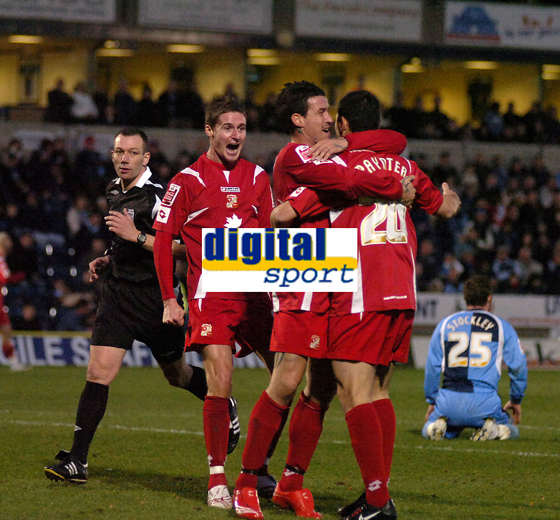 Photo: Matt Bright/Sportsbeat Images.<br /> Wycombe Wanderers v Swindon Town. The FA Cup. 10/11/2007.<br /> Billy Paynter is congratulated on scoring by team mates Lee Peacock and Barry Corr