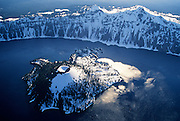Pacific-Northwest-photographer-randy-wells-videographer-filmmaker-cinematographer-storyteller-writer-location-and-studio-specialist, Aerial image of Wizard Island at Crater Lake National Park, Oregon, Pacific Northwest