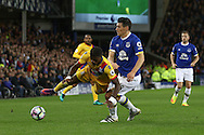 Gareth Barry of Everton tackles Wilfried Zaha of Crystal Palace. Premier league match, Everton v Crystal Palace at Goodison Park in Liverpool, Merseyside on Friday 30th September 2016.<br /> pic by Chris Stading, Andrew Orchard sports photography.