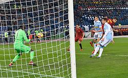 December 1, 2017 - Rome, Italy - Lorenzo Pellegrini kicks goal 3-0 during the Italian Serie A football match between A.S. Roma and Spal at the Olympic Stadium in Rome, on december 01, 2017. (Credit Image: © Silvia Lore/NurPhoto via ZUMA Press)