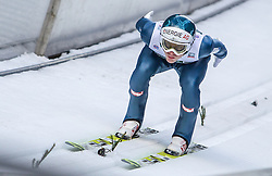 10.01.2014, Kulm, Bad Mitterndorf, AUT, FIS Ski Flug Weltcup, Probedurchgang, im Bild Michael Hayboeck (AUT) // Michael Hayboeck (AUT) during the Trial jump of FIS Ski Flying World Cup at the Kulm, Bad Mitterndorf, <br /> Austria on 2014/01/10, EXPA Pictures © 2014, PhotoCredit: EXPA/ JFK