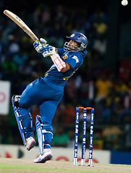 © Licensed to London News Pictures. 04/10/2012. Sri Lankan .Tillakaratne Dilshan batting during the World T20 Cricket Mens Semi Final match between Sri Lanka Vs Pakistan at the R Premadasa International Cricket Stadium, Colombo. Photo credit : Asanka Brendon Ratnayake/LNP