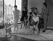 09/09/1960<br /> 09/09/1960<br /> 09 September 1960<br /> Theatre Revue group rehearsal for the Dublin Theatre Festival at Busaras Theatre, Store Street.  2 1/2 year old Fiona watches mother, Bairbre Neldon rehearse. Also in the picture: (l-r) Liz Burrows, Helen Joyce, Sheila Liddy, Angela Nolan and Eamonn O'Higgins, Producer.