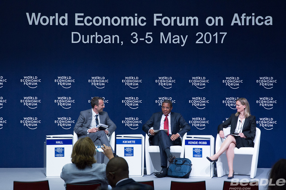 Maxwell Hall, World Economic Forum, Jakaya M. Kikwete, President of Tanzania (2005-2015)<br /> Office of the President of Tanzania, Caroline Kende-Robb, Chief Adviser<br /> Education Commission at the World Economic Forum on Africa 2017 in Durban, South Africa. Copyright by World Economic Forum / Greg Beadle