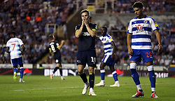 Derby County's Tom Lawrence reacts after a missed chance during the Sky Bet Championship match at the Madejski Stadium, Reading.