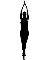 beautiful caucasian tall woman ballet dancer standing tiptoe pose  full length on studio isolated white background