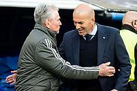 Real Madrid coach Zinedine Zidane and Bayern Munich coach Jupp Heynckes during Semi Finals UEFA Champions League match between Real Madrid and Bayern Munich at Santiago Bernabeu Stadium in Madrid, Spain. May 01, 2018. (ALTERPHOTOS/Borja B.Hojas)
