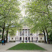 The main gate of Brussels Park across from the Royal Palace of Brussels in central Brussels, Belgium.