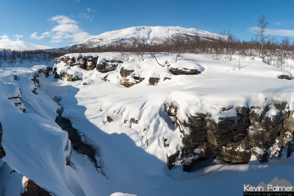 The snow was very deep on this part of the Abisko River near the top of the canyon in Swedish Lapland.
