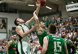 Marko Josilo of Krka vs Domen Lorbek of Olimpija during basketball match between KK Krka Novo mesto and  KK Petrol Olimpija in 4th Final game of Liga Nova KBM za prvaka 2017/18, on May 27, 2018 in Sports hall Leona Stuklja, Novo mesto, Slovenia. Photo by Vid Ponikvar / Sportida