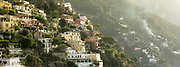 Colorful Buildings in morning haze in Positano, Italy