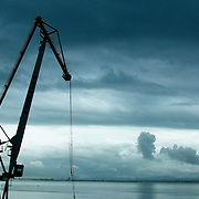One of the cranes at Lisbon's harbour area