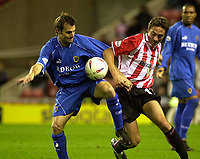 Photo. Glyn Thomas.<br /> Sunderland v Cardiff. Nationwide Division 1.<br /> Stadium of Light, Sunderland. 14/10/03.<br /> Sunderland's Tommy Smith (R) and Mark Bonner battle for possession.