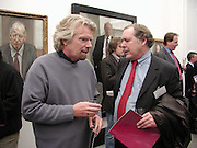 Sir Richard Branson and David Rigg. Managing Partners exhibition.  Photos by Jillian Edelstein, Tom Miller and Dudley Reed . National Portrait Gallery.  5 March 2001. © Copyright Photograph by Dafydd Jones 66 Stockwell Park Rd. London SW9 0DA Tel 020 7733 0108 www.dafjones.com