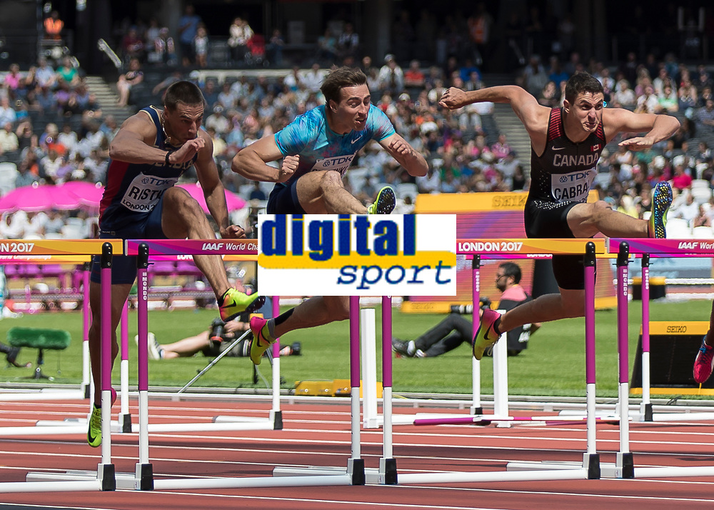 Athletics - 2017 IAAF London World Athletics Championships - Day Three, Morning Session<br /> <br /> 110m Hurdles Men - Heats<br /> <br /> Sergey Shubenkov (Authorised Neutral Athlete) centre field clear the high hurdles at the London Stadium<br /> <br /> COLORSPORT/DANIEL BEARHAM