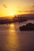 Sunset, Honolulu Harbor, Oahu, Hawaii<br />