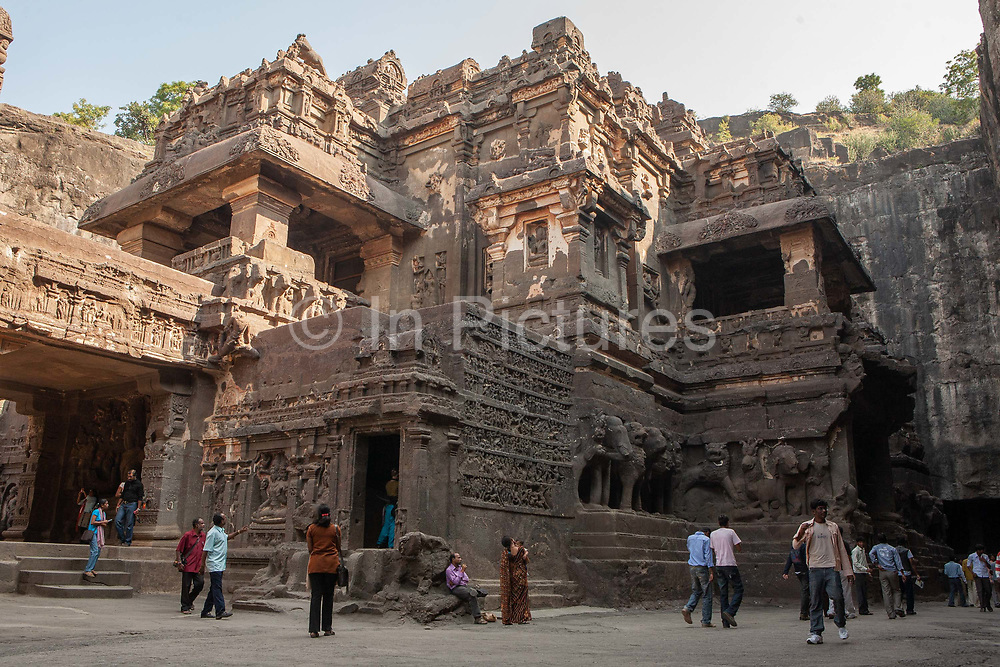 The UNESCO world heritage site of the Ellora cave complex on 12th December 2009 in Maharashtra state, near Mumbai, India. It is one of the largest rock-cut monastery-temple cave complexes in the world, featuring incredibly well preserved Hindu, Buddhist and Jain monuments and artwork, dating from the 600–1000 CE period.  It is described as among the finest surviving examples of ancient Indian art.