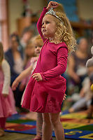"""Audrey Jones dances as Shabaz Ujima of the Nashville Ballet  led the children through movements depicted in the book,""""Little Cloud"""" by Eric Carle, during story time at the Nolensville Library's pre-school Story Time  on March 13, 2019. Photo: Harrison McClary/News & Observer"""