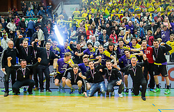 Team photo of Svis after the handball game between RK Svis Ivancna Gorica and RK Celje Pivovarna Lasko in Final of Slovenian Cup  2014 on March 2, 2014 in Arena Golovec, Celje, Slovenia. Celje Pivovarna Lasko defeated Svis Ivancna Gorica 31-16 and became Slovenian Cup Champion 2014. Photo by Vid Ponikvar / Sportida