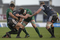 March 2, 2019 - Galway, Ireland - Olly Cracknell of Ospreys tackled by Jarrad Butler and Paul Boyle of Connaht during the Guinness PRO 14 match  between Connacht Rugby and Ospreys at the Sportsground in Galway, Ireland on March 2, 2019  (Credit Image: © Andrew Surma/NurPhoto via ZUMA Press)